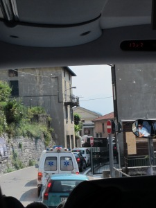 Tiny narrow streets around Lake Como Italy
