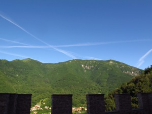 Jet trails from Castelbrando, Italy