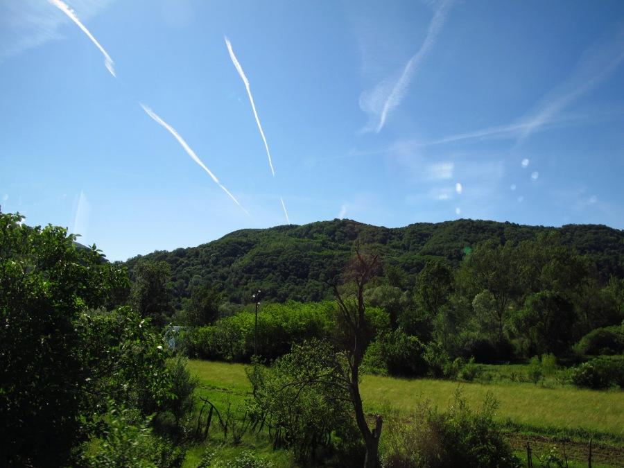 Jet trails from the bus, near Castelbrando Italy