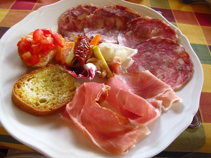 Antipasta at I Cipressini, Tuscany