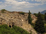 looking back at ruins of Pompeii