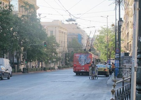 Unusual sights in Athens - he caught up to the traffic with his trolley