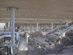 Inside the Akrotiri site Santorini