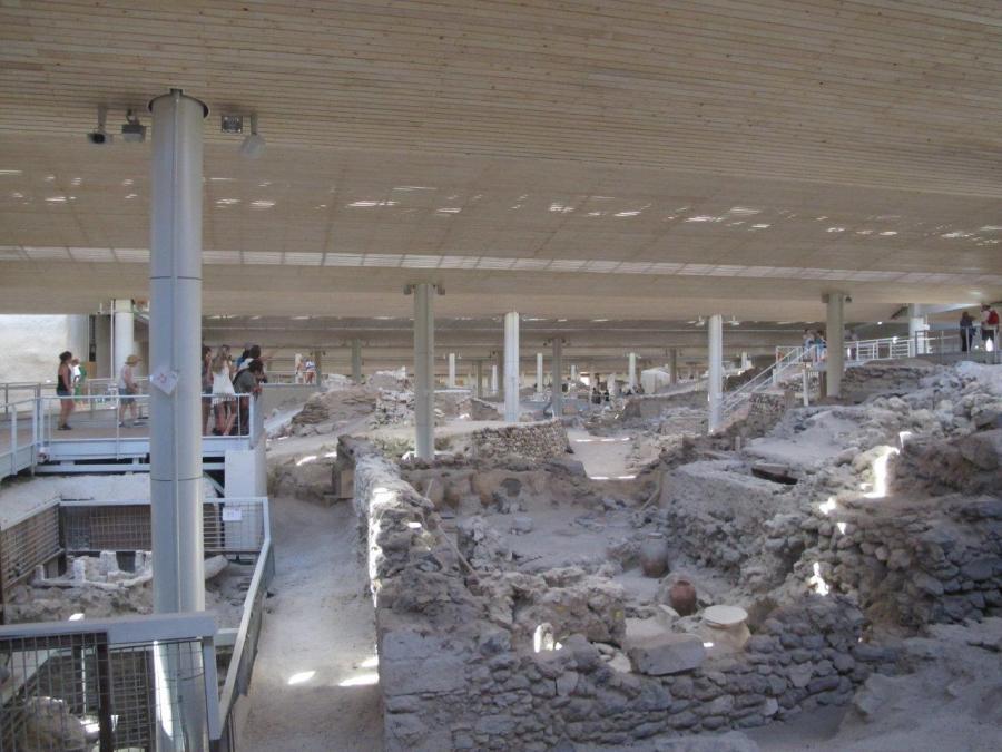 Inside the Akrotiri site Santorini