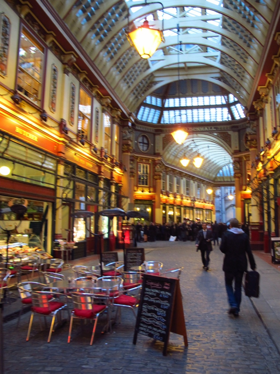 Friday night crowds outside the pub in Leadenhall Markets, London