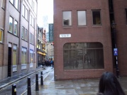 Frying Pan Lane (taking pic while walking = out of focus, sorry)