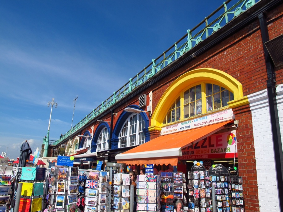 Shops on the beach, Brighton, England