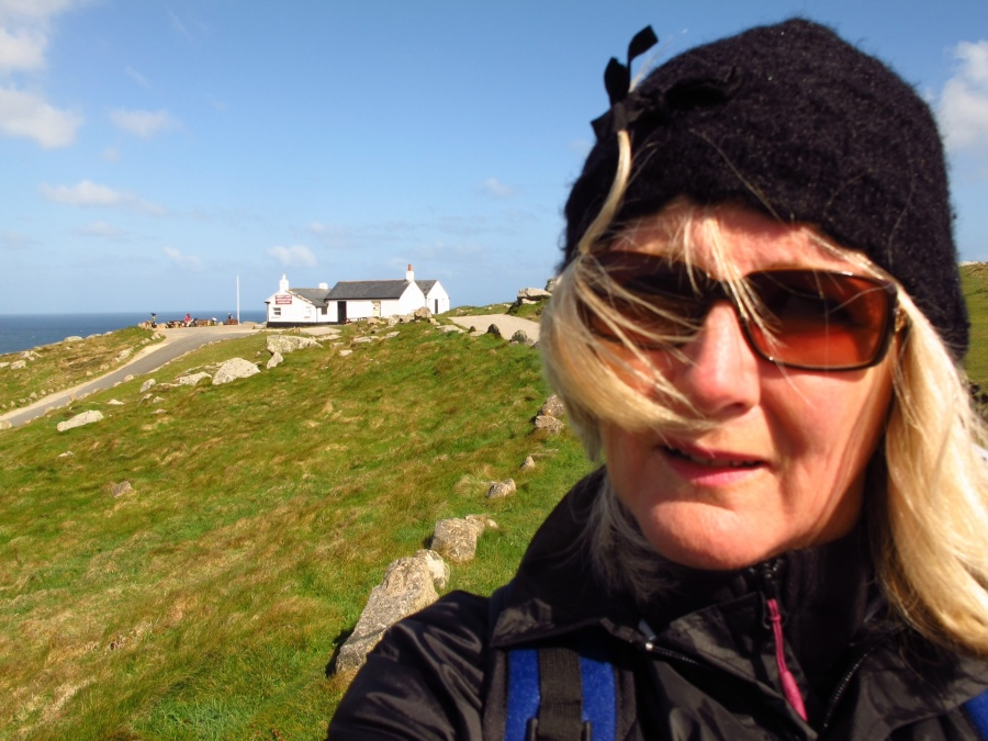 Selfie in gale force winds at Lands End