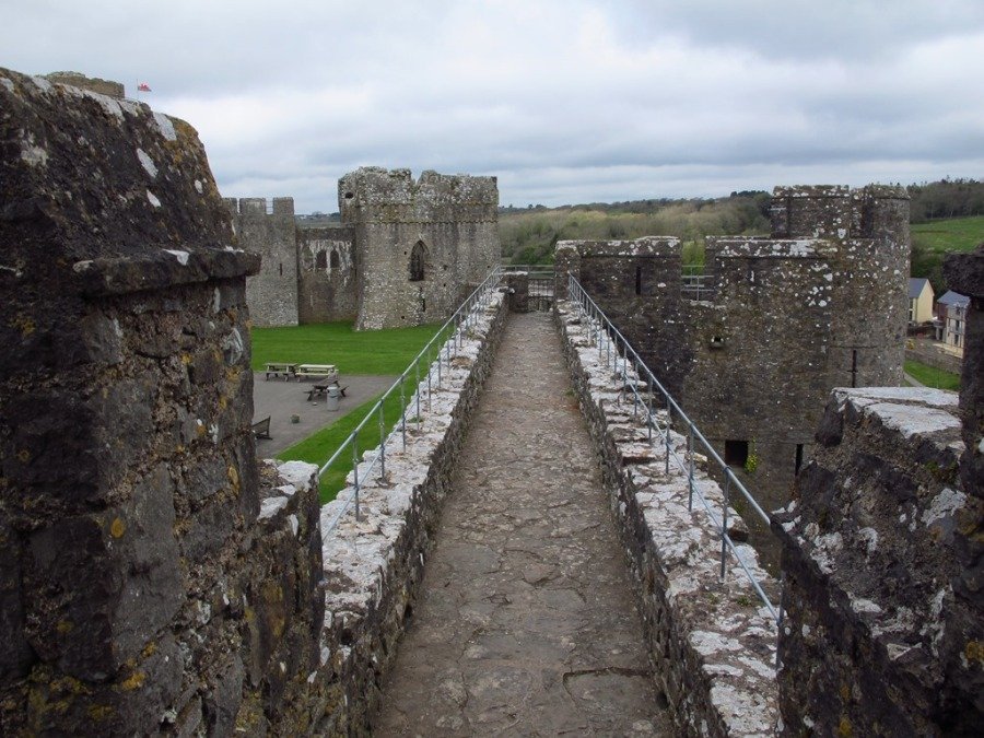 On the walls of Pembroke Castle, Wales