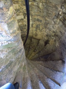 Teeny tiny stone staircases in Pembroke Castle, Wales