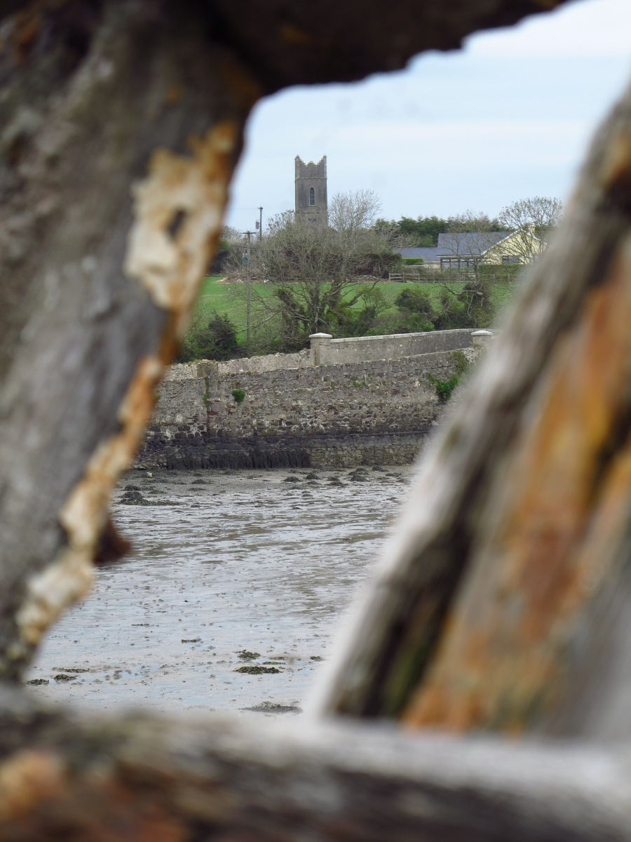 Tintern Abbey from between the spars of old boat