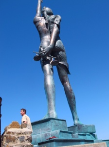 Back view of Verity, sculpture by Damien Hirst - Ilfracombe