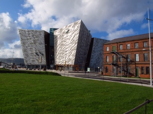Titanic centre Belfast and original Harland &Wolff building