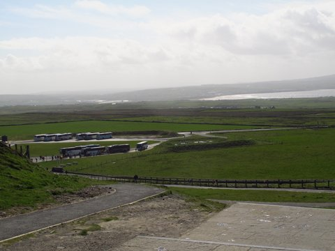 Just a few buses this early in the day at Cliffs of Moher