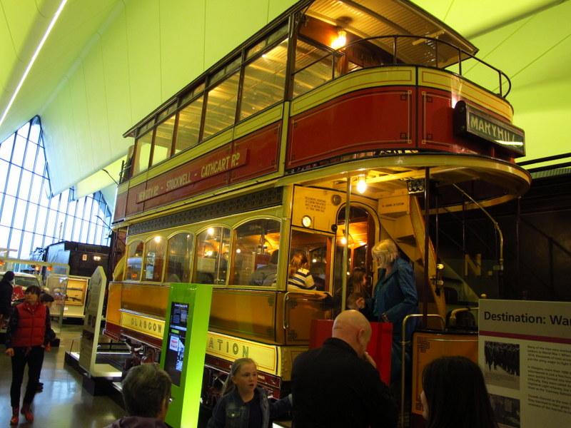 Really cute double decker tram, Riverside Museum, Glasgow