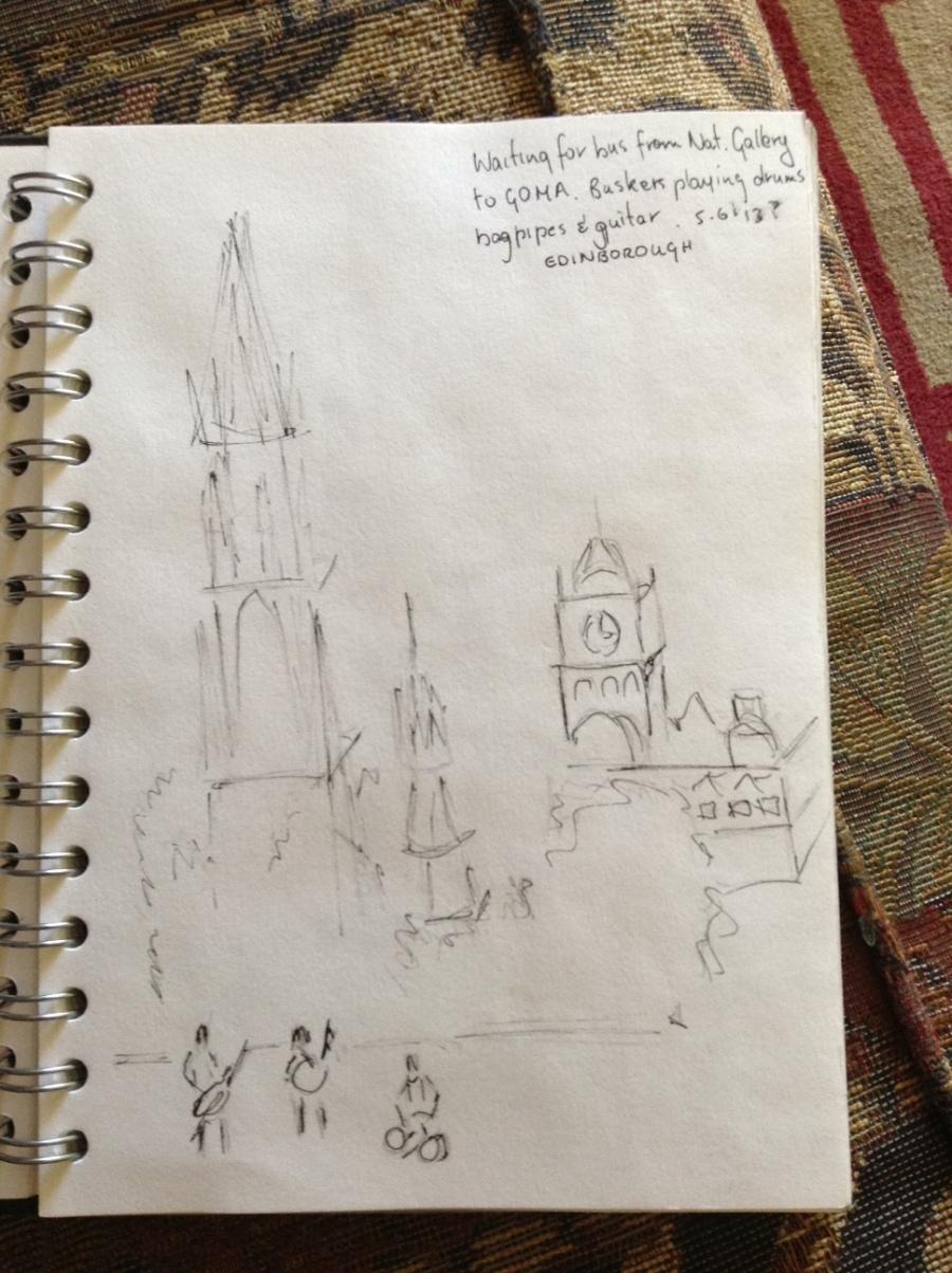 5 minute sketch of buskers outside Edinburgh Art Gallery