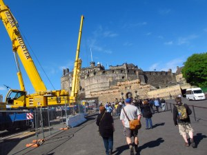 Heading to Edinburgh Castle through the stadium for the Tattoo