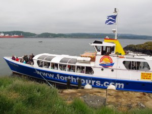Cruise boat leaving us on Inchcolm Island, Scotland