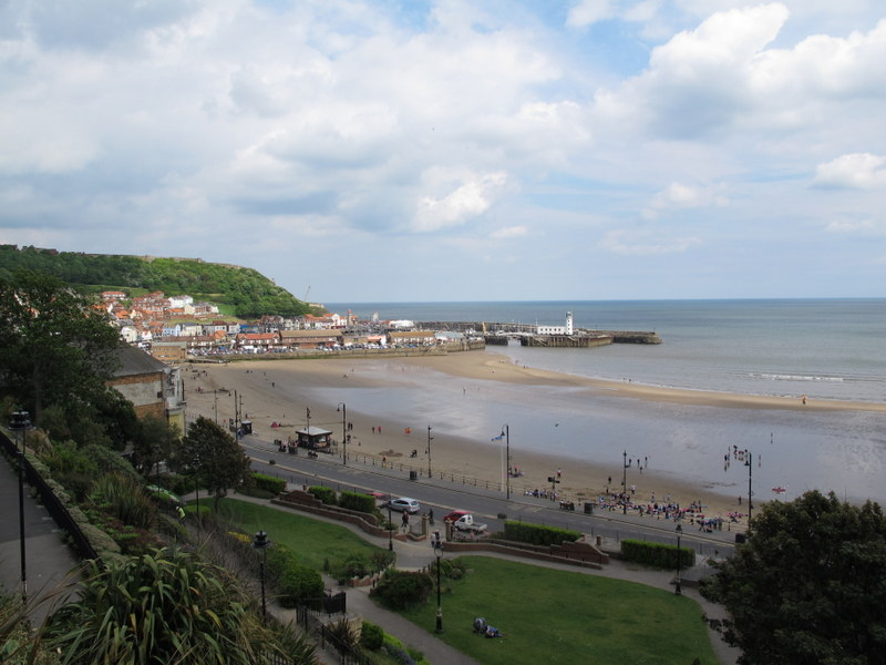 Looking down to the beach from near the Grand Hotel in Scarborough, England