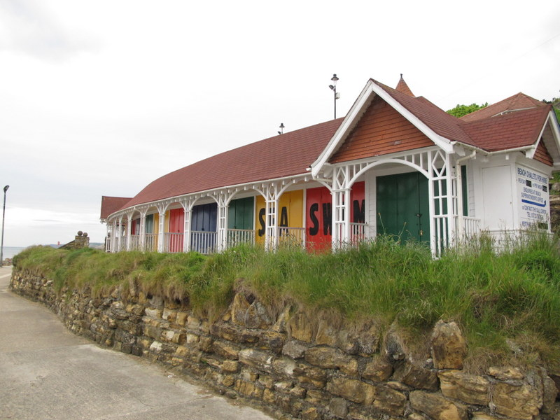 Beach huts at Scarborough, England