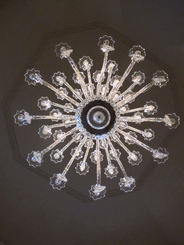 From the bottom of a chandelier