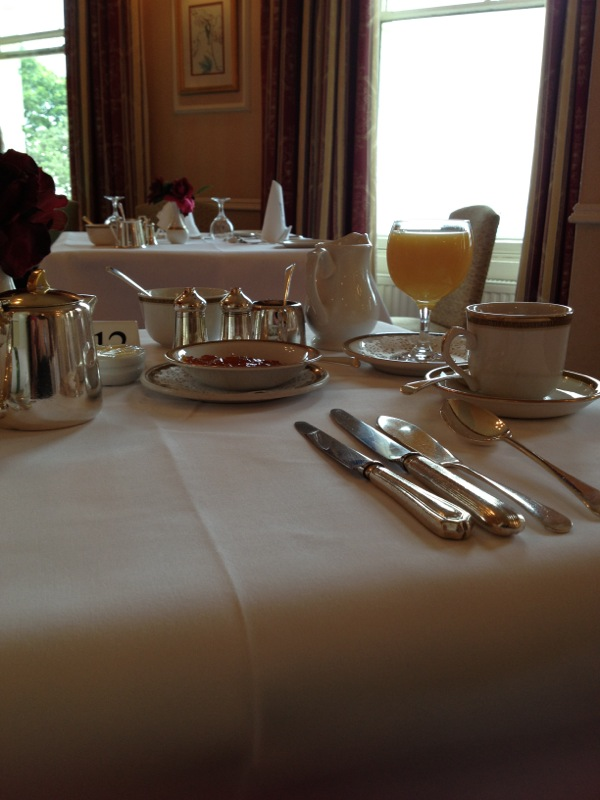 Table setting for breakfast at The Mount, Scarborough