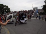 Riding in style and the grandstand at Notre Dame