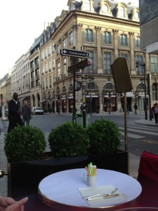 Breakfasting in Rue St Honore while waiting for school to start