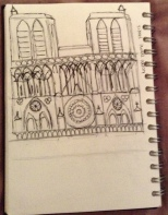 unfinished sketch of notre dame paris