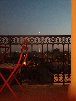 Eiffel Tower through the railing