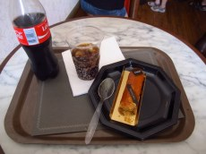 'Angelina' cake and coke - bloody expensive treat at the palace
