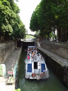 Tour boat on the canal in Paris