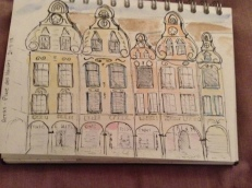 Facade of houses in place des Heros, Arras
