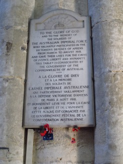 Plaque in Amiens Cathedral, France
