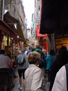 Main thoroughfare of Mont St Michel
