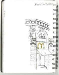 Sketch of front of McDonalds building Bordeaux France