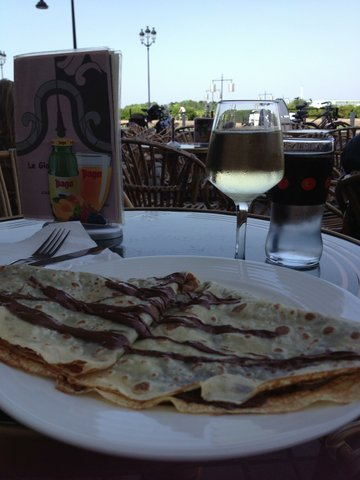 Ahhhh, french chocolate crepe and white wine at Bordeaux