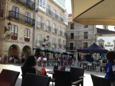 Relaxing in the plaza, Vigo, Spain