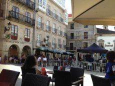 Relaxing in the plaza, Vigo, Spain