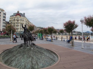 Don Quixote and Sancho Panzo statue on the beachfront of San Sebastian