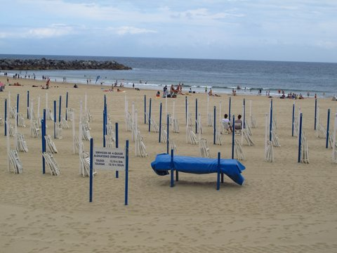 Not much call for the loungers and umbrellas today! San Sebastian Spain