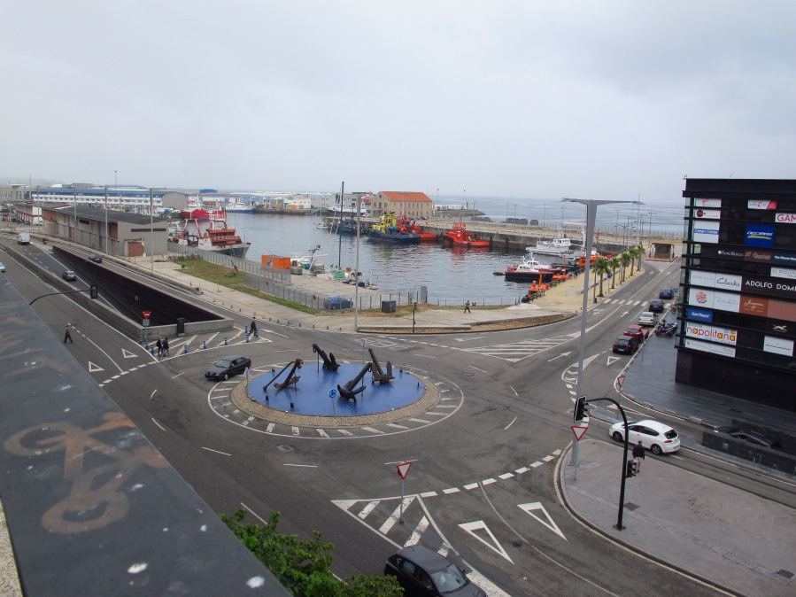 Part of the harbour on a rainy day at Vigo, Spain
