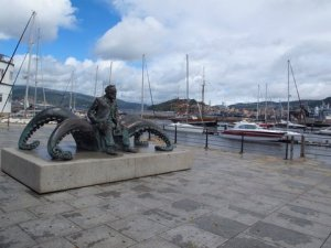 Jules Verne riding an octopus in Vigo Spain
