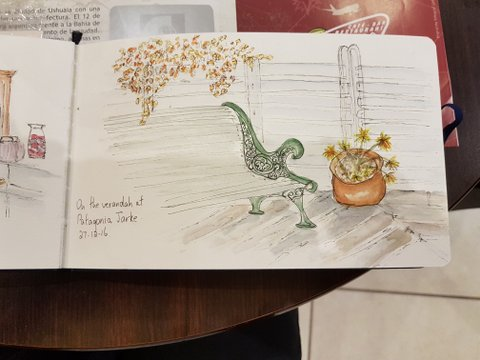 Sketch at hosteria in Ushuaia