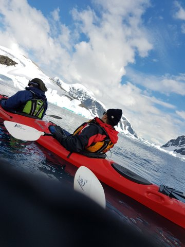 Couple of kayakers leaving the safety of the zodiac!