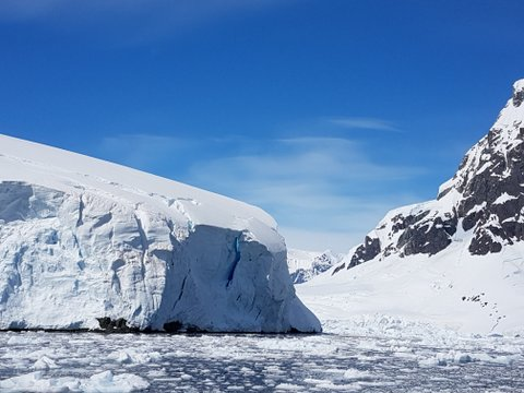 """Blue ice where we witnessed a """"calving"""