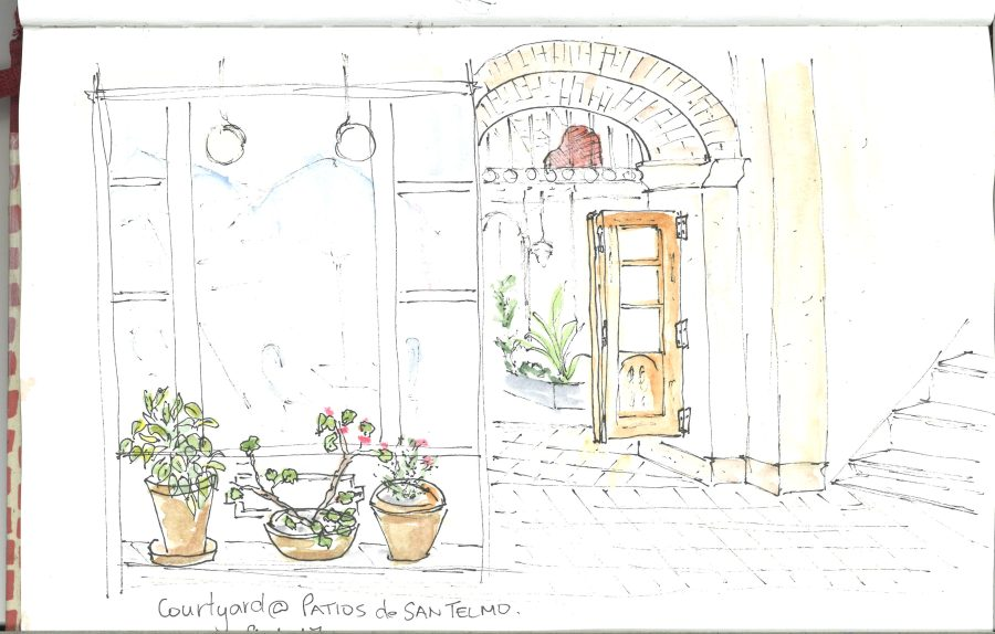 Courtyard at Patios de San Telmo sketch