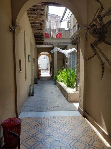 Courtyard and sculpture Patios de San Telmo