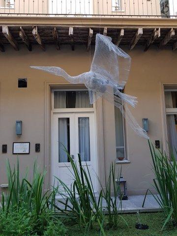 Stork & baby sculpture Patios de San Telmo
