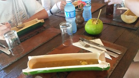 Ingenious use of bamboo and grapefruit at lunch